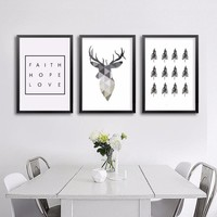 HOT Geometric Animals Nordic Deer Poster Canvas Painting Pop Art Prints Scandinavian Tree Decoration Pictures No Frame Home Deco