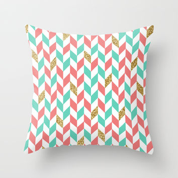 Mint Coral Gold Glitter Chevron Scatter Pattern Throw Pillow by Doucette Designs