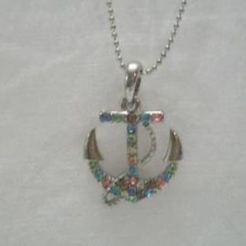 Pastel Rhinestone Anchor Pendant Colorful Nautical Necklace Multi Color Costume Jewelry
