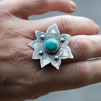 Statement ring,Large sterling silver boho ring,Turquoise bezel set ring,One of a kind silver ring ,Contemporary jewelry, Unique, SIZE 9.5 US