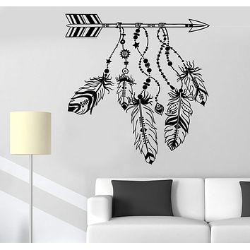 Vinyl Wall Decal Arrow Feathers Dreamcatcher Protective Amulet Stickers Unique Gift (1149ig)