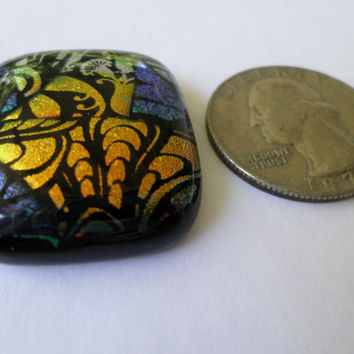 Copper Green  Dichroic Glass Cabochon Cab  Mosaic Dichroic Pendant  Upgrade to pendant available  Fused Glass  PMC Wire Wrap