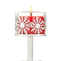 Silver Snowflake Pedestal 1.3 oz. Mini Candle Pedestal   - Slatkin & Co. - Bath & Body Works