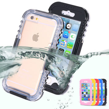 For iPhone 7 Plus Case Underwater Swim Diving Waterproof Cover For iPhone 7 6 6S Plus 5 5S SE 4 4S Clear Hard Full Protect Capa