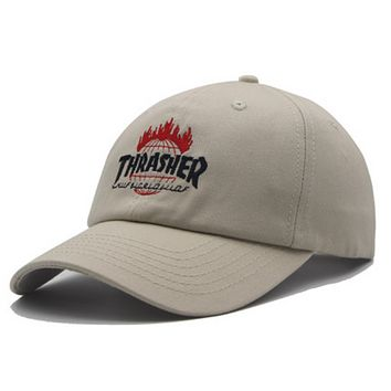 Thrasher Fashion New Embroidery Letter Sunscreen Women Men Cap Hat Khaki
