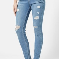 Women's Topshop Moto High Rise Ripped Jeans (Light Denim)