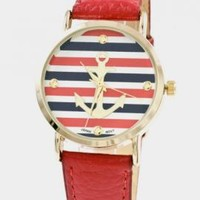 Nautical Hour Anchor Striped Watch in Red | Sincerely Sweet Boutique