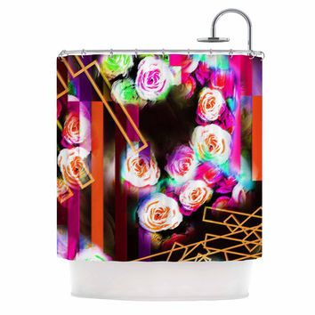 "Dawid Roc ""Colorful Rose-Floral Geometric"" Multicolor Pink Shower Curtain"