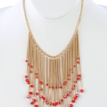 Red Long Chain Fringe Bib Iridescent Glass Bead Charm Necklace