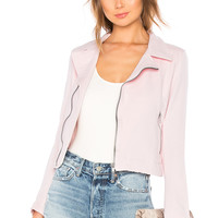 June Distressed Stretch Moto Jacket in Pink