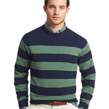 Izod Sweater, Crew Neck Stripe Fine Gauge Lightweight Sweater - Izod - Men - Macy's
