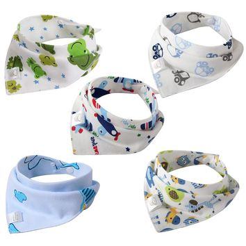 Baby Bibs Bandana Cotton Burp Cloths Newborn Infant Toddler Girl Boy Bib with Button Colorful Fashion Patterns 5 PCS/Lot