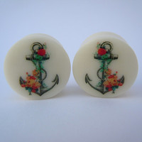"Organic Bone Plugs / Gauges. Floral Anchor. 4g / 5mm, 2g / 6mm, 0g / 8mm, 00g / 10mm, 1/2"" / 12mm, 9/16"" / 14mm, 5/8"" / 16mm, 3/4"" / 19mm"