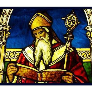 St. Augustine inspired by the work of Art Nouveau and Stained Glass Artist Louis Comfort Tiffany  Counted Cross Stitch Pattern