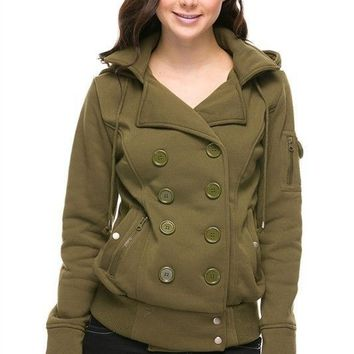 Womens Hooded Fleece Double Breasted Pea Coat Trench Coat Jacket Ribbed Hem Top