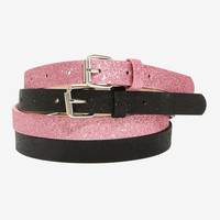 Black & Pink Glitter Belt Set