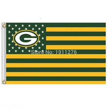 Green Bay Packers Flag USA With Stars and Stripes NFL Flag 3x5 ft custom Banner 90x150cm Sport flag