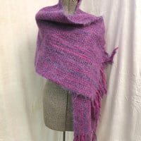 "Vintage Woven Wool Shawl Wrap Purple Fuchsia Pink Fringed 19 x 72 plus 9"" Deep Fringe Large Loom Woven Shawl  Warm Wrap Stole Mohair Wool"