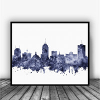 Fresno California Skyline Black Art Print Poster