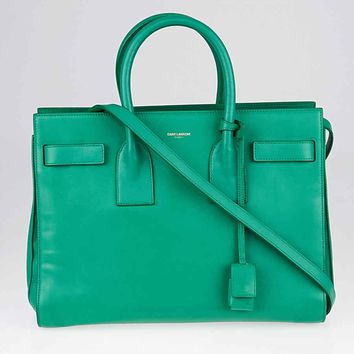 Yves Saint Laurent Green Calfskin Leather Small Sac de Jour Tote Bag