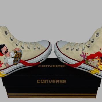Hand Painted Converse Hi. Bobs Burgers. Bob, Linda, Tina, Gene, and Louise. Fox. v2 Ha