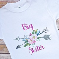 Big Sister Shirt - Bohemian Flower, Feathers, and Arrows - Toddler Sizes