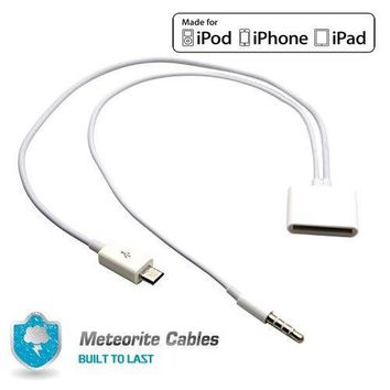 USA Micro USB to 30 Pin For iPhone 4S 4 Speaker Dock 3.5mm Audio Adapter NEW