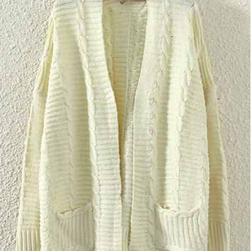 Beige Design Collarless Long Sleeve Knitted Cardigan