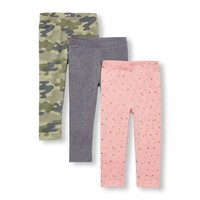 Toddler Girls Printed And Solid Leggings 3-Pack