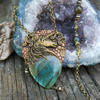 Unicorn Golden Blue Labradorite gemstone necklace