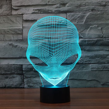 FLYMEI 3D Optical Illusion Desk Lamp Unique Night Light for Home Decor 7 Colors Changing USB Powered Touch Button LED Table Lamp - BEST Gift for Kids/ Friends/ Birthdays/Holidays (Alien) Alien