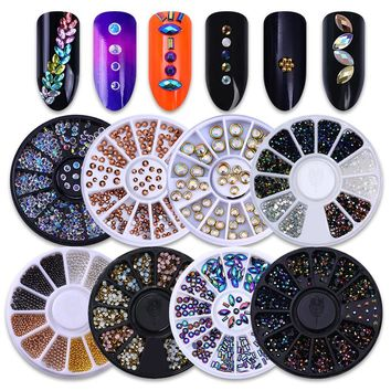 1 Box 2mm AB Chameleon Crystal Nail Rhinestones Flat Bottom Round 3D Decor Wheel 5 Colors Manicure Nail Art Decorations