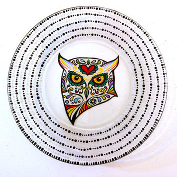 Owl | Plate | Owls | Sugar Skulls | Sugar Skull | Dinnerware | Dishes | Decorative Plate | Hand Painted | Glass | Housewarming | Teacher
