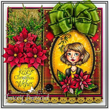 Handmade Vintage Style Christmas Greeting Card - Mistletoe Kisses and Christmas Wishes - Handcraft 3D Poinsettia Flowers Sparkle Bow Gift