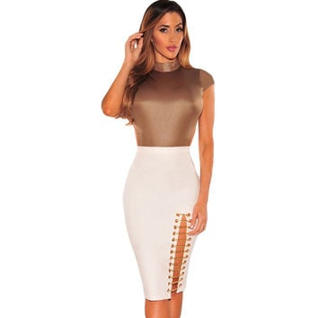 High Waist Midi Skirt Solid Color BlackWhite Pencil Skirt Bandage Sexy High-Slit Hollow Out Bodycon Skirt SM6