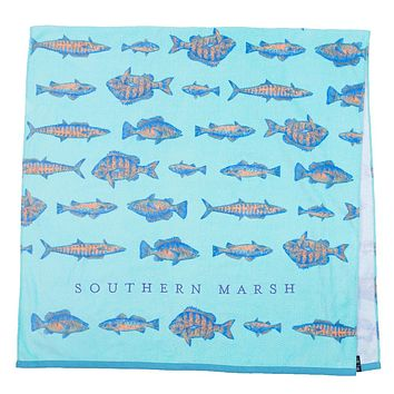 Riptide Beach Towel in Antigua Blue by Southern Marsh