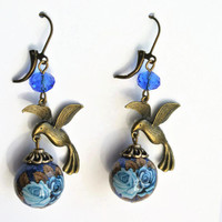 Stunning Japanese Tensha bead, Blue Rose Earrings, Tensha bead with Bronze Owl, Long Dangle Earrings