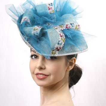 Ascot hat FREE delivery Turquoise Royal Ascot fascinator hat, Azure Kentucky derby Fascinator,Couture hat Cocktail Wedding ha, Deep sky blue