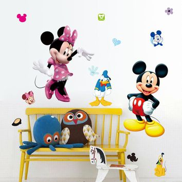 Mickey Mouse Wall Sticker 50x70cm Lovely Minnie Wall Stickers for Kids Rooms Home Decor