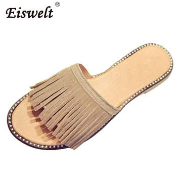 Tassel Sandals Women Slippers Summer 2017 Fringe Sandal Flats Slides Women Shoes Chaus