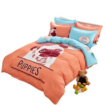 cotton/polyester puppy duvet cover set,single twin full queen bedding set,orange dog printed quilt cover/bed sheet/pillowcase