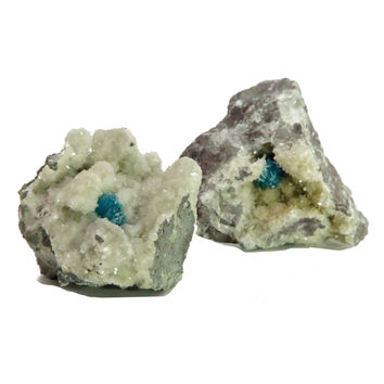 Cavansite Mineral 02 Blue Gemstone Drusy Quartz Cluster Pair