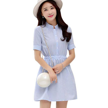 Shirt Dress Women Summer Dress Striped Fashion Korean Short Sleeve White And Blue Striped Linen Casual Dresses For Ladies
