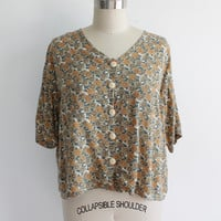 Vintage 80s Sunflower Print Cropped Tee | Button Up Oversized Tshirt