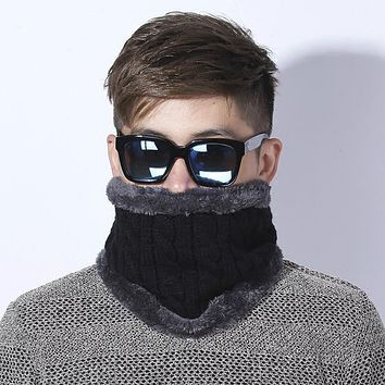 [Dexing] Unisex Winter Knitted Scarves gaiter Plus Cotton   Wool Collar scarf  Warmer Woman Crochet Ring Men Loop neck Scarf
