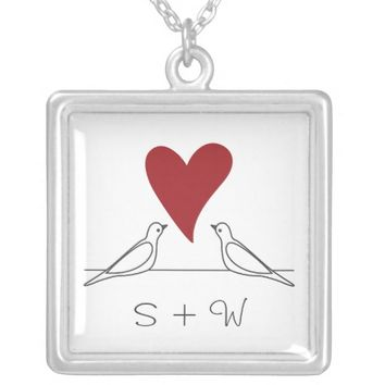 Love Bird Red Heart Simple Rustic Monogram Silver Plated Necklace