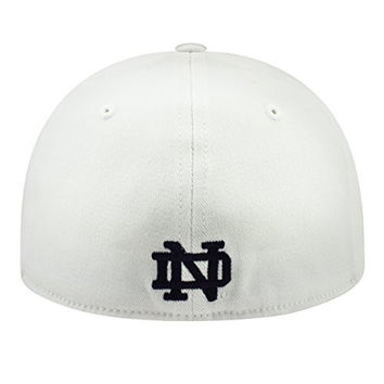 Notre Dame Fighting Irish NCAA Top of the World Premium Collection Adult One Fit Hat-White with Kelly Green Clover