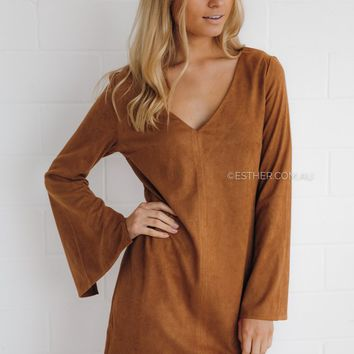 sienna suede tunic dress - tan