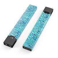 Skin Decal Kit for the Pax JUUL - Aqua Watercolor Tiger Pattern