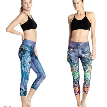 Underwater World Crop Yoga Leggings Jellyfish Sports Running Capris Tights Blue Stretched Slim Fitness Gym Workout Pants Women's